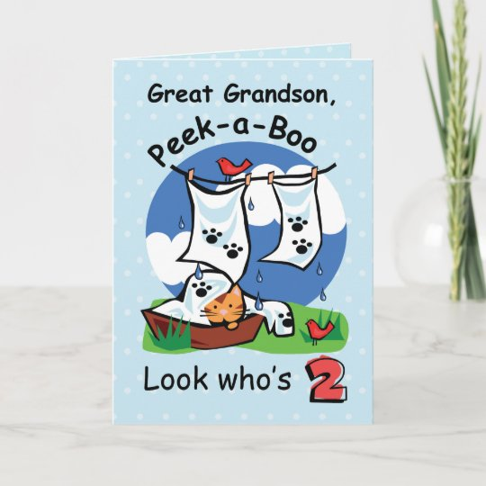 Great Grandson 2nd Birthday Peek A Boo Kitten Card