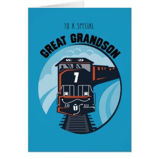Great Grandson 7th Birthday Train, Little Boy, Blu Card