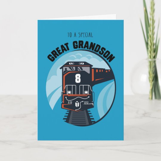 Great Grandson 8th Birthday Train Little Boy Blu Card