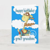 Great Grandson Aeroplane / Airplane Giraffe Birthd Card