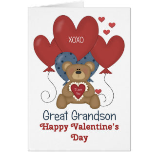 Great Grandson Bear and Balloons Valentine Card