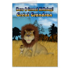 Great Grandson Birthday Card - Lion And Cub