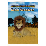 Great Grandson Birthday Card - Lion And Cub