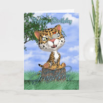 Great Grandson Birthday Card With Cute Jaguar And