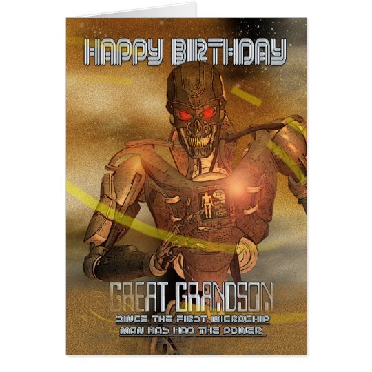 Great Grandson Birthday Card With Cyborg - Modern