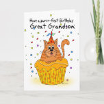 "great grandson birthday card with ginger cupcake<br><div class=""desc"">great grandson birthday card with ginger cupcake cat</div>"