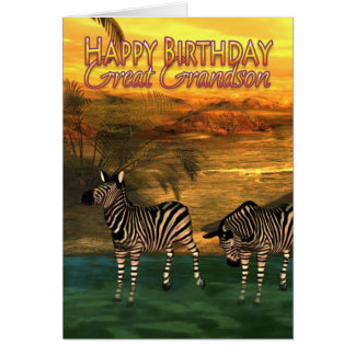 Great Grandson Birthday Card Zebras In Water