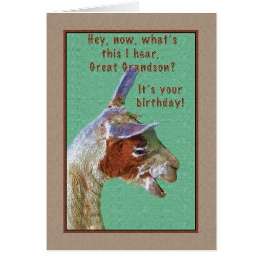 Great Grandson, Birthday, Laughing Llama Card