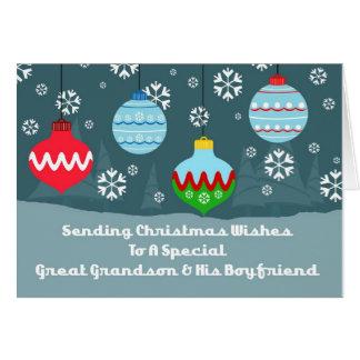 Great Grandson & Boyfriend Ornaments Christmas Card