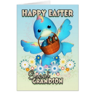 Great Grandson Easter Card - Cute Duck With Basket