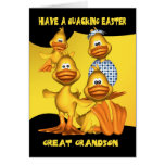 Great Grandson, Easter Card With Fun Ducks