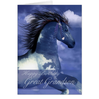 Great Grandson Equine Birthday Card North American