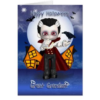 great grandson fun vampire halloween greeting card