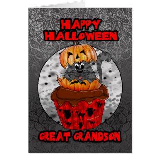 great grandson halloween cupcake cat card