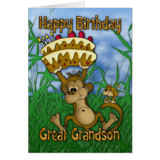 Great Grandson Happy Birthday with monkey holding Card