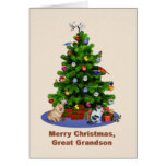 Great Grandson, Merry Christmas Tree, Birds, Dog Greeting Card
