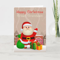 Great Grandson Santa With Sack And Gifts Card