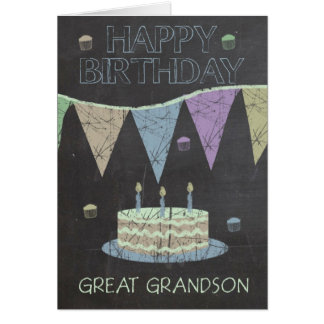 Great Grandson Trendy Chalk Board Effect With Cake Greeting Card