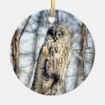 Great Gray Owl - Creamy Brown Watcher 2 sides Ornament