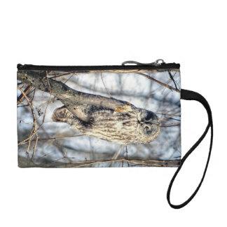 Great Gray Owl, Creamy Brown Watcher Change Purse