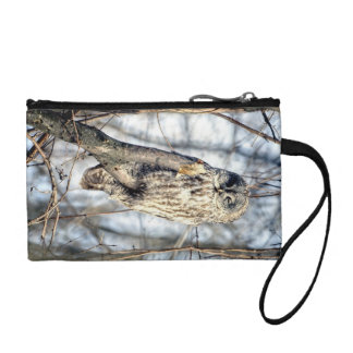 Great Gray Owl, Creamy Brown Watcher Coin Purse