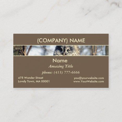 Great Gray Owl, Creamy Brown Watcher in Nature Business Card