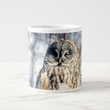 Great Gray Owl - Creamy Brown Watcher Large Coffee Mug
