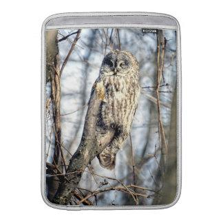 Great Gray Owl - Creamy Brown Watcher MacBook Sleeve