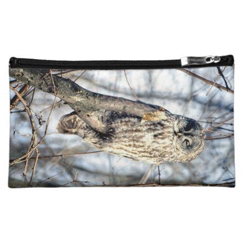 Great Gray Owl, Creamy Brown Watcher Makeup Bag