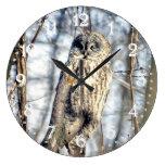 Great Gray Owl - Creamy Brown Watcher Round Clock