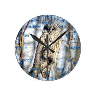 Great Gray Owl, Creamy Brown Watcher Round Clocks