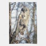 Great Gray Owl - Creamy Brown Watcher Towel