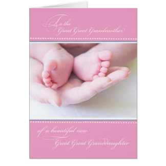 Great Great Grandparents, Pink Congratulations Card