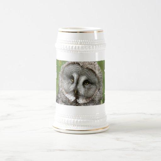 Great Grey Owl Beer Stein Mug