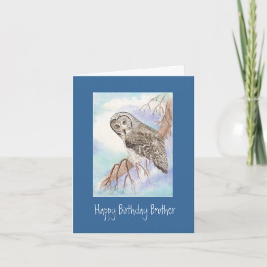 Great Grey Owl Brother Birthday Card Zazzle