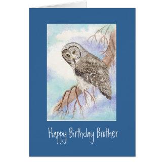 Great Grey Owl Brother Birthday Card