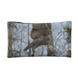 Great Grey Owl Launching in Forest Photo Cosmetic Bag