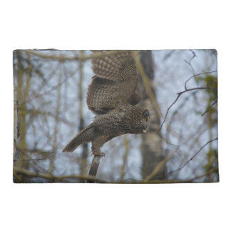 Great Grey Owl Launching in Forest Photo Travel Accessory Bag