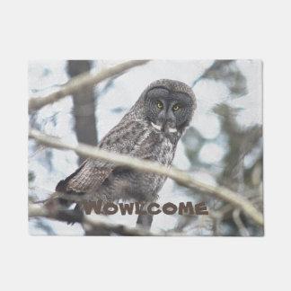 Great Grey Owl on Branch Welcome Mat Doormat