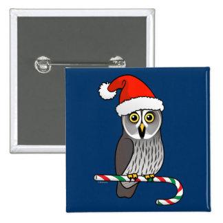 Great Grey Owl Santa 2 Inch Square Button