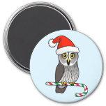Great Grey Owl Santa Fridge Magnet