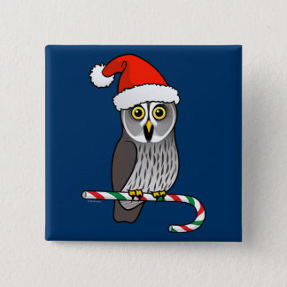 Great Grey Owl Santa Pinback Button