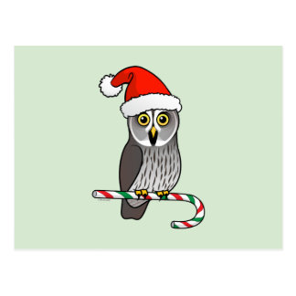 Great Grey Owl Santa Post Card