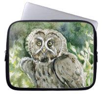 Great Grey Owl watercolor Computer Sleeve