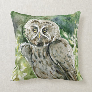 Great grey owl watercolor painting throw pillow