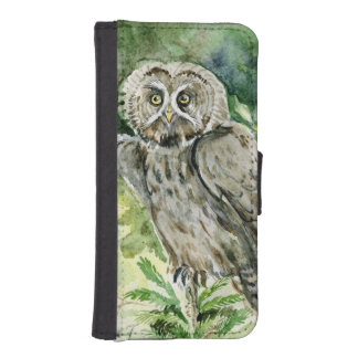 great grey owl watercolor phone wallet case