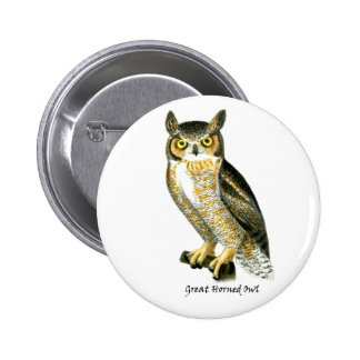 Great Horn Owl Pinback Button