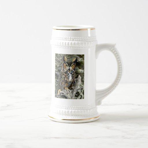 Great Horn Owl Stein 18 Oz Beer Stein