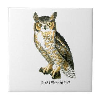 Great Horn Owl Ceramic Tile