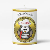 Great horn owl with BBQ in hand and a gold frame Pillar Candle
